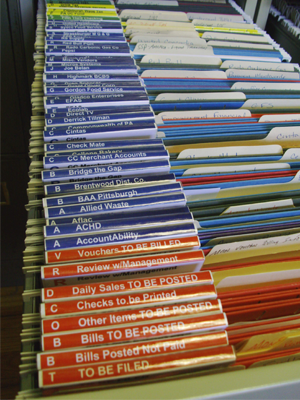 Organized Records in a File Cabinet