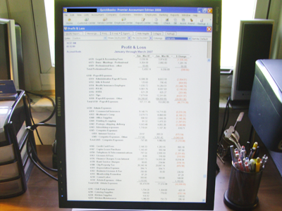 Computer Displaying Financial Records